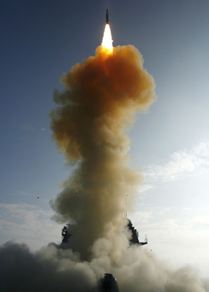 The USS Lake Erie (CG 70) launches a Standard Missile-3 at a non-functioning National Reconnaissance Office satellite as it traveled in space at more than 17,000 mph over the Pacific Ocean on Feb. 20, 2008. The objective was to rupture the satellite's fuel tank to dissipate the approximately 1,000 pounds (453 kg) of hydrazine, a hazardous material which could pose a danger to people on earth, before it entered into earth's atmosphere. The USS Lake Erie is an Aegis guided missile cruiser. USS Decatur (DDG 73) and USS Russell (DDG 59) were also part of the task force. DoD photo by U.S. Navy. (Released)